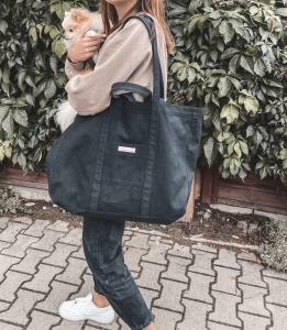 MAXI SHOPPER COTTON BAG BLACK